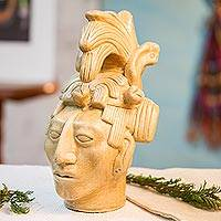 Ceramic statuette, 'Maya King of Palenque in Golden Brown'