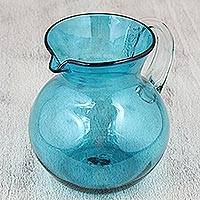 Pitcher, 'Aqua Halo' - Handblown Recycled Glass Blue Pitcher Mexican Serveware