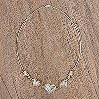 Gold accented sterling silver pendant necklace, 'Hearts' - Gold Accented Silver Heart Pendant Necklace