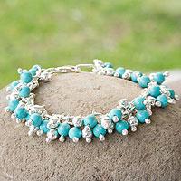Sterling silver beaded bracelet, 'Blue Raindrops' - Handmade Taxco Silver Sterling Silver Link Bracelet