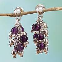 Amethyst cluster earrings, 'Romance' - Taxco Silver Amethyst Earrings