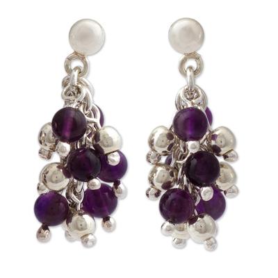 Amethyst cluster earrings, 'Romance' - Taxco Silver Amethyst Earrings