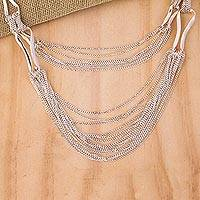 Sterling silver strand necklace, 'Imagine' - Handcrafted Taxco Silver Multi-Row Tiered Necklace