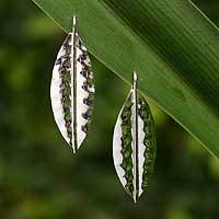 Sterling silver drop earrings, 'Frost' - Drop Style Silver Leaf Earrings Handmade in Mexico