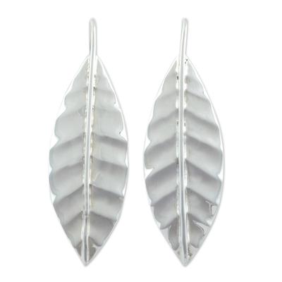 Sterling silver drop earrings, 'Frost' - Drop Style Silver Leaf Earrings Handmade in Mexico