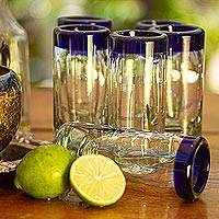 Tequila glasses, 'Tequila Blues' (set of 6) - Handblown Recycled Glass Blue Rim Shot Glasses (set of 6)