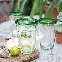 Drinking glasses, 'Conical' (set of 6) - Handblown Glass Clear and Green Water Glasses Set of 6