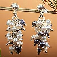 Pearl cluster earrings, 'Nautical Melody' - Pearl cluster earrings