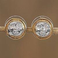 Gold plated stud earrings, 'Radiant Moon' - Gold Accented Sterling Silver Moon Stud Earrings