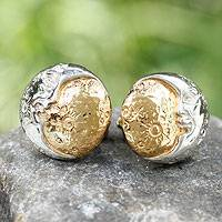Gold plated cufflinks, 'Eternal Moon' - Gold Accented Silver Moon Cufflinks