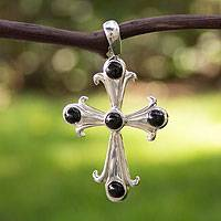 Onyx pendant, 'Courageous Cross' - Black Onyx Cross Pendant from Mexico