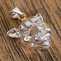 Gold accented sterling silver pendant, 'Jaguar' - Sterling Silver Wild Cat Pendant with Gold Accent Spots