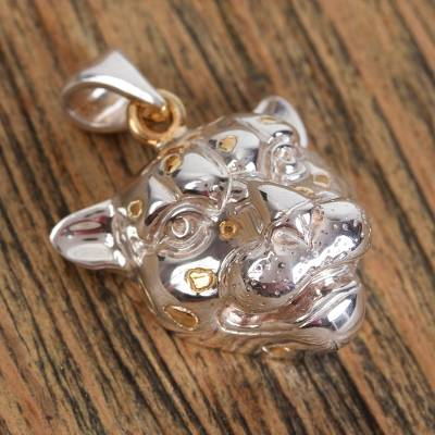 Gold accented sterling silver pendant, 'Jaguar' - Women's Gold Accented Silver Wild Cat Pendant