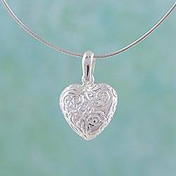Sterling silver choker, 'Gracious Heart' - Sterling Silver Heart Choker Necklace
