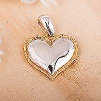 Gold accented sterling silver pendant, 'Radiant Heart' - Gold Accented Sterling Heart Pendant from Mexico