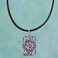 Leather pendant necklace, 'Aztec Sun' - Handcrafted Sterling Silver Pendant Necklace from Mexico