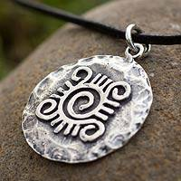 Leather necklace, 'Shield Protector' - Handcrafted Sterling Silver Pendant Necklace