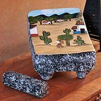 Ceramic sculpture, 'My Village in the Desert II' - Ceramic sculpture