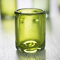 Shot glasses, 'Lime and Salt' (set of 6) - Fair Trade Mexico Handblown Recycled Glass Tequila Shots