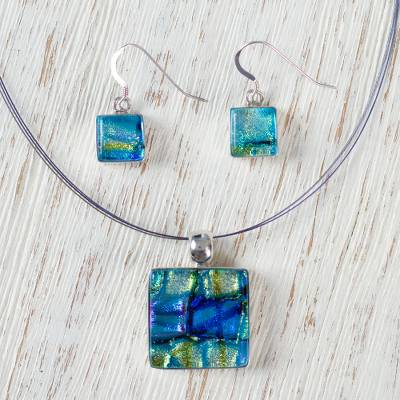 Dichroic art glass jewelry set, 'Caribbean Horizon' - Unique Modern Art Glass Pendant Jewelry Set from Mexico