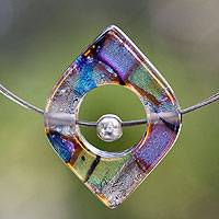 Dichroic art glass pendant necklace, 'Electric Earth' - Art Glass Pendant Necklace