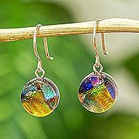 Dichroic art glass earrings, 'Joy' - Dichric Glass Dangle Earrings