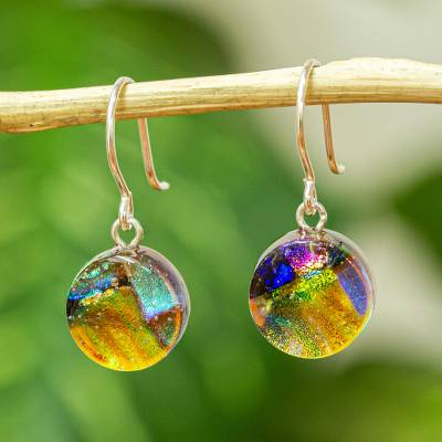Dichroic art glass earrings, 'Joy' - Dichric Glass Dangle Earrings