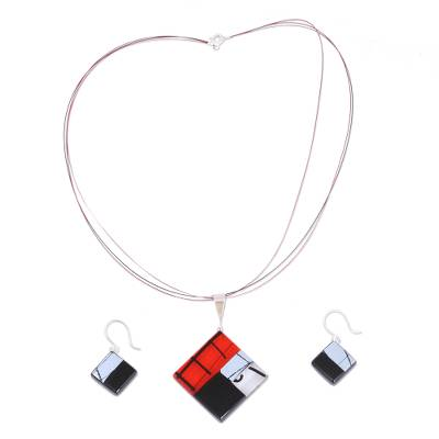 Dichroic art glass jewelry set, 'Sophisticate' - Hand Made Modern Art Glass Pendant and Earrings Jewelry Set