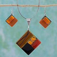 Dichroic art glass jewelry set, 'Autumn' - Women's Dichroic Glass Pendant and Earrings Set