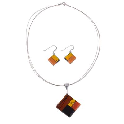 Dichroic art glass jewelry set, 'Autumn' - Modern Art Glass Pendant Jewelry Set
