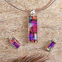 Dichroic art glass jewelry set, 'Kaleidoscope' - Dichroic Glass jewellery Set Necklace and Earrings
