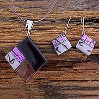 Dichroic art glass jewelry set, 'Purple Dream' - Modern Art Glass Pendant jewellery Set