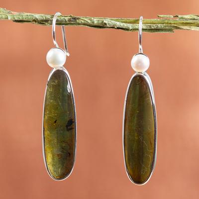 Amber and pearl drop earrings, 'Shadowed Sunlight' - Unique Sterling Silver and Amber Drop Earrings