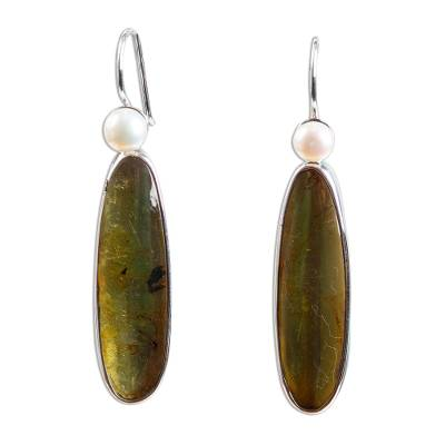 Unique Sterling Silver and Amber Drop Earrings