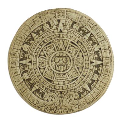 Ceramic plaque, 'Small Beige Aztec Calendar' - Ceramic plaque