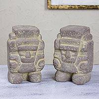 Ceramic statuettes, 'Tlaloc, God of Rain' (pair) - Handcrafted Ceramic Sculpture Pair from Mexico