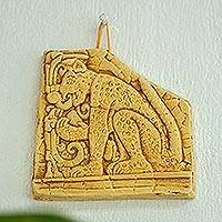 Ceramic wall plaque, 'Mighty Maya Jaguar in Ochre' - Handcrafted Ceramic Wild Cat Plaque