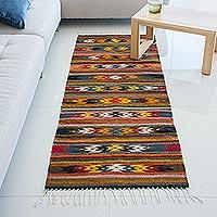 Zapotec wool rug, 'Guelaguetza Dance' (2.5x6.5) - Handmade Zapotec Star Motif Area Rug (2.5x6.5)