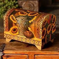 Decoupage chest, 'Sunflowers and Talavera'