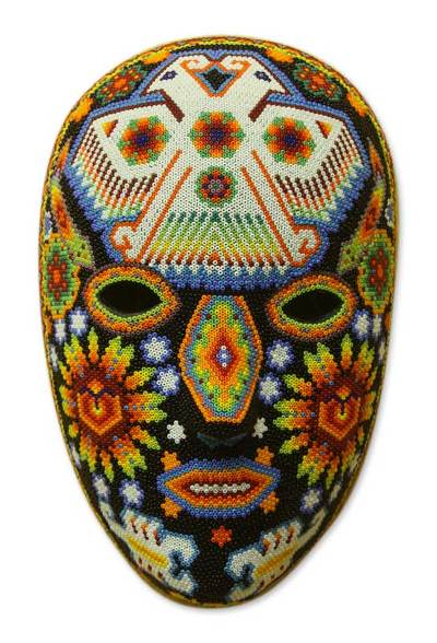 Beadwork mask, 'Eagle Protector' - Authentic Handmade Huichol Beaded Mask