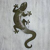 Iron wall adornment, 'Tropical Gecko' - Iron wall adornment