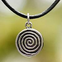 Leather pendant necklace, 'Shell Spiral' - Handmade Sterling Silver Pendant Necklace from Mexico