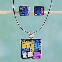 Dichroic glass jewelry set, 'Jigsaw' - Modern Jewelry Set Featuring Dichroic Glass and Stainless St
