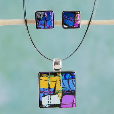 Dichroic glass jewelry set, 'Jigsaw' - Modern jewellery Set Featuring Dichroic Glass and Stainless