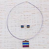 Dichroic glass jewelry set, 'Summer Rainbow' - Dichroic glass jewelry set