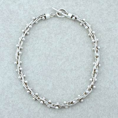 Sterling silver choker, 'Charisma' - Unique Mexican Taxco Silver Choker Necklace