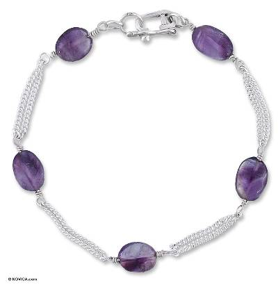 Silver and Amethyst Bracelet Mexico