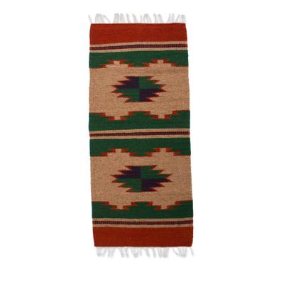 Zapotec wool runner, 'Earth Strata' (1.5x3.5) - Zapotec wool runner (1.5x3.5)