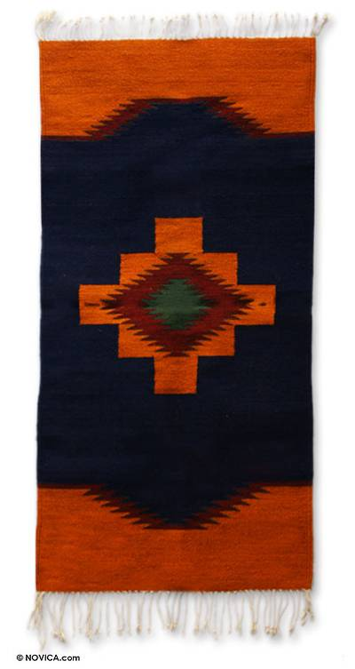 Zapotec wool rug, 'Cross of Fire' (2.5x5) - Zapotec wool rug (2.5x5)