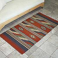 Zapotec wool rug, 'Earth' (2.5x5.5) - Zapotec wool rug (2.5x5.5)